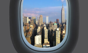 View of Manhatten from a plane window